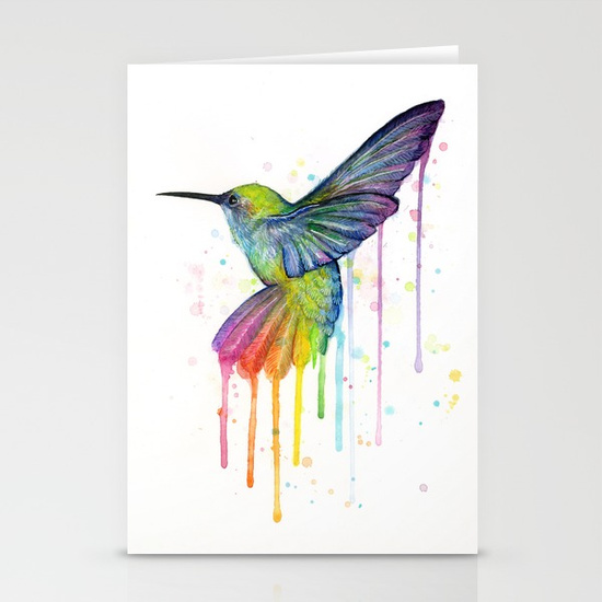 Hummingbird rainbow watercolor greetings card dotslevel cards anniversary card m4hsunfo